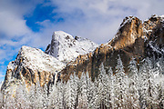 Bridalveil Fall and the Leaning Tower in winter, Yosemite National Park, California USA