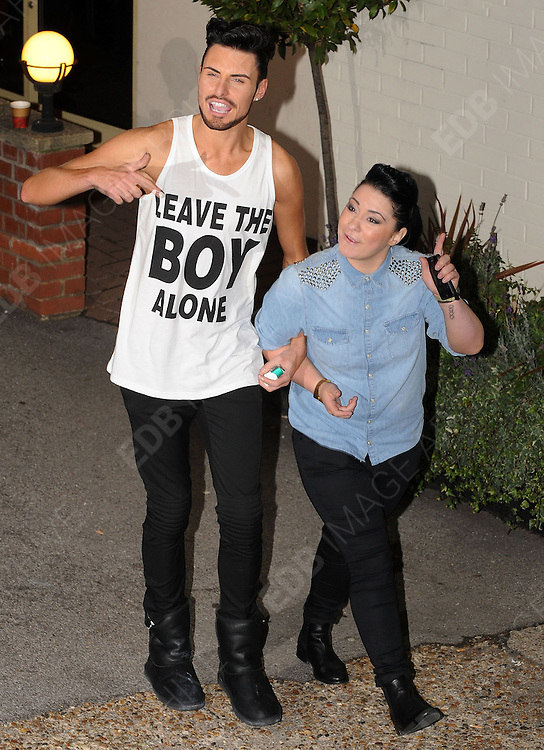 14.OCTOBER.2012. LONDON<br /> <br /> RYLAN CLARK AND LUCY SPRAGGAN LEAVING THE X-FACTOR STUDIOS AFTER THE RESULTS SHOW.<br /> <br /> BYLINE: EDBIMAGEARCHIVE.CO.UK<br /> <br /> *THIS IMAGE IS STRICTLY FOR UK NEWSPAPERS AND MAGAZINES ONLY*<br /> *FOR WORLD WIDE SALES AND WEB USE PLEASE CONTACT EDBIMAGEARCHIVE - 0208 954 5968*