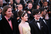Director Wes Anderson with Kara Hayward and Jared Gilman at the opening gala screening of the film Moonrise Kingdom. Wednesday 16th May 2012, the red carpet at Palais Des Festivals in Cannes, France.