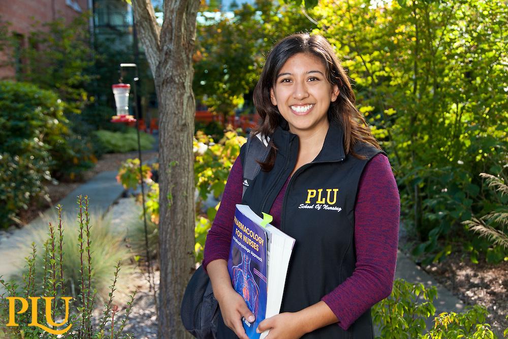 Nursing student Kelly Gutierrez '17, at PLU on Wednesday, Sept. 9, 2015. (Photo: John Froschauer/PLU)
