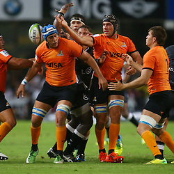DURBAN, SOUTH AFRICA - MARCH 05: Matias Alemanno and Guido Petti of the Jaguares block the ball from  Etienne Oosthuizen of the Cell C Sharks during the 2016 Super Rugby match between Cell C Sharks and Jaguares at Growthpoint Kings Park Stadium on March 05, 2016 in Durban, South Africa. (Photo by Steve Haag/Gallo Images)