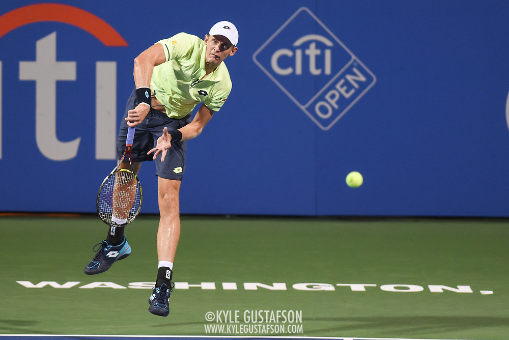KEVIN ANDERSON hits a serve during his match on day four at the Citi Open at the Rock Creek Park Tennis Center in Washington, D.C.