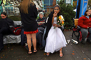 "CeCe takes her lasat smoke as a ""free woman"" while waiting for her groom Crazy to return with their minister. They have their homeless street wedding amongst friends at the Salmon Springs Fountain in Portland.."
