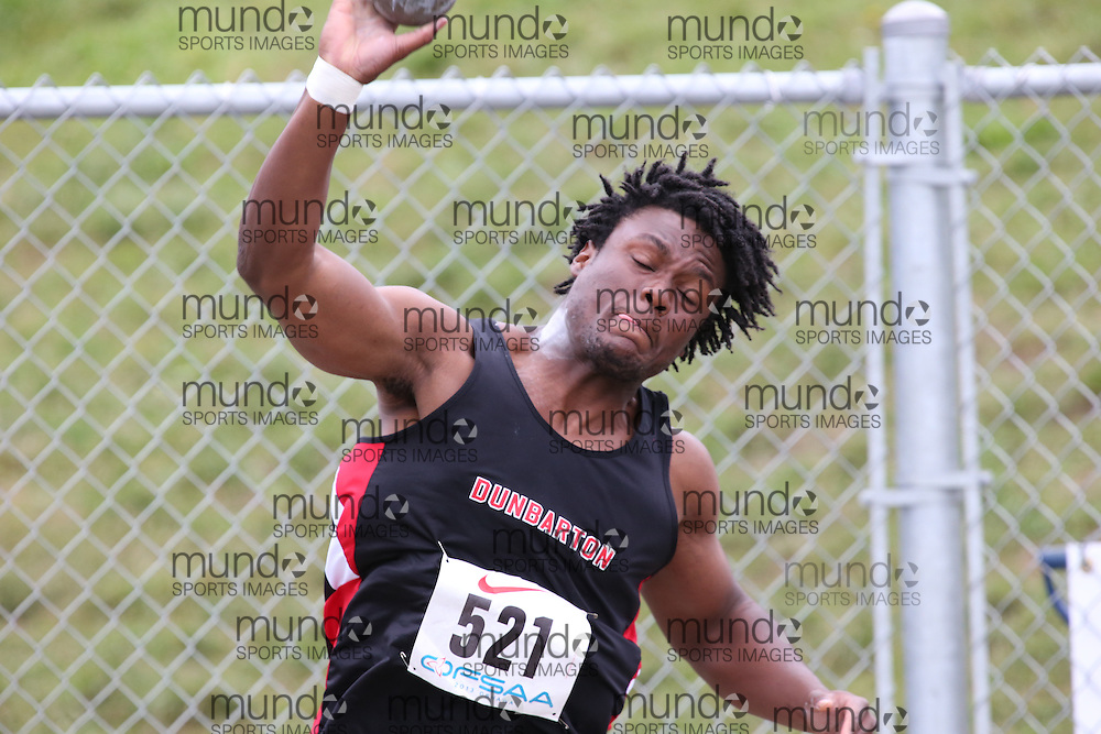 Jhalil Lindo of Dunbarton HS - Pickering competes in the senior boys shot put at the 2013 OFSAA Track and Field Championship in Oshawa Ontario, Thursday,  June 6, 2013.<br /> Mundo Sport Images / Sean Burges