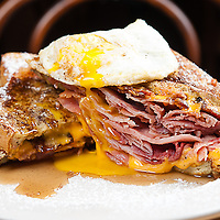 French Toast &quot;Monte Cristo&quot;<br /> Neuske's ham, American cheese and bacon.<br /> Jimmy J's Cafe, 115 Chartres St. New Orleans, LA 70130.