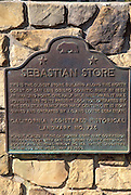 The California state historic landmark plaque at Sebastian's Store, San Simeon, California