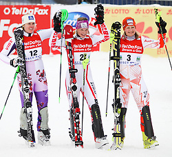 04.02.2011, Arber Zwiesel, GER, FIS World Cup Ski Alpin, Lady, Slalom, im Bild die ersten Drei // during FIS Ski Worldcup ladies Slalom at Arber Zwiesel, Germany on 04/02/2011. EXPA Pictures © 2011, PhotoCredit: EXPA/ R. Hackl