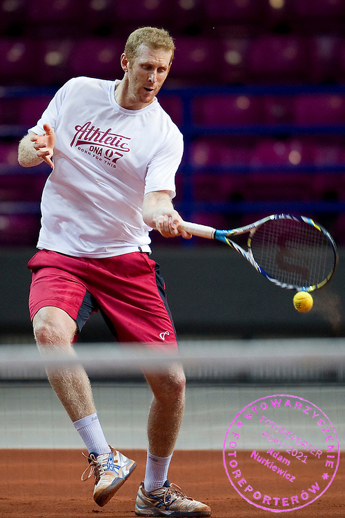Chris Guccione from Australia while trening session four days before the BNP Paribas Davis Cup 2013 between Poland and Australia at Torwar Hall in Warsaw on September 09, 2013.<br /> <br /> Poland, Warsaw, September 09, 2013<br /> <br /> Picture also available in RAW (NEF) or TIFF format on special request.<br /> <br /> For editorial use only. Any commercial or promotional use requires permission.<br /> <br /> Photo by © Adam Nurkiewicz / Mediasport