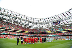 DUBLIN, REPUBLIC OF IRELAND - Saturday, August 10, 2013: Liverpool line up to face Glasgow Celtic during a preseason friendly match at the Aviva Stadium. (Pic by David Rawcliffe/Propaganda)