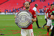 Daley Blind Midfielder of Manchester United with the Community Shield during the FA Community Shield match between Leicester City and Manchester United at Wembley Stadium, London, England on 7 August 2016. Photo by Phil Duncan.