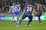 shot on goal for Reading FC defender Michael Hector during the The FA Cup Quarter Final match between Reading and Crystal Palace at the Madejski Stadium, Reading, England on 11 March 2016. Photo by Mark Davies.