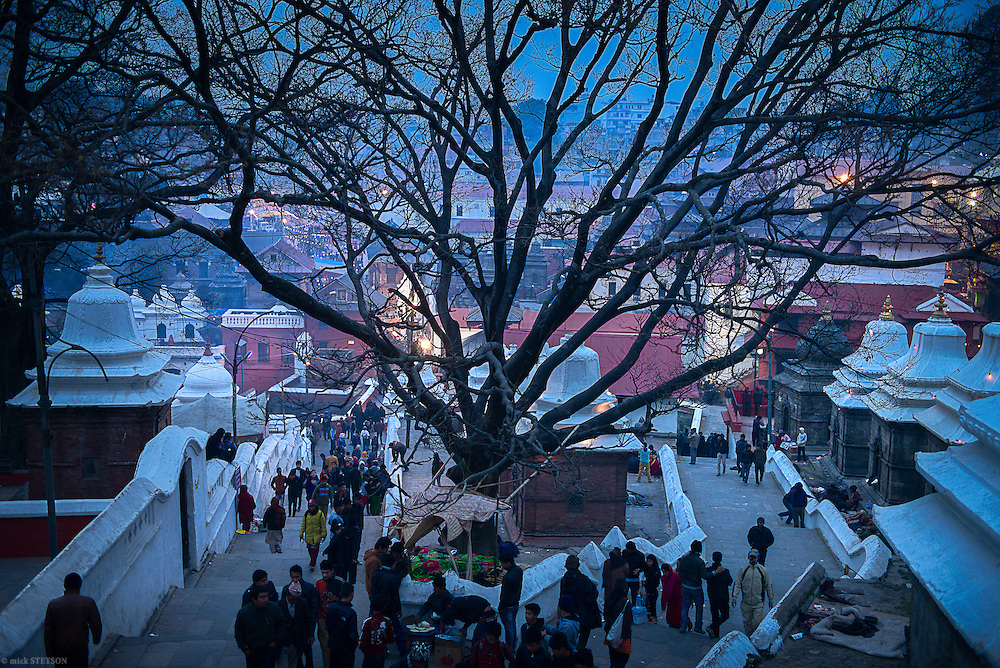 — Before sunrise, crowds begin to gather at Pashupatinath Temple, the most sacred Hindu temple in Nepal. Thousands of Hindus, both young and old, from all over Nepal and India make a pilgrimage to Pashupatinath to celebrate Shiva's marriage to Parvati, the Supreme Goddess/Being.