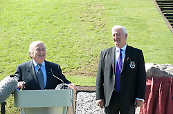 CARDIFF, WALES - Wednesday, September 9, 2009: FIFA President Joseph Sepp Blatter speaks to the media at the opening of the Wales national team training pitch ahead of the FIFA World Cup Qualifying Group 3 match against Russia. Also President Phil Pritchard. (Pic by David Rawcliffe/Propaganda)