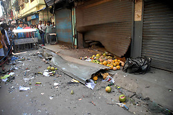 October 2, 2018 - Dumdum, West Bengal, India - View of bomb blast in Kazipara, Nagerbazar area of Dumdum. A low intensity bomb blast in front of a fruit vendor killed a child and at least five person injured at Kazipara, Nagerbazar area of Dumdum. (Credit Image: © Saikat Paul/Pacific Press via ZUMA Wire)