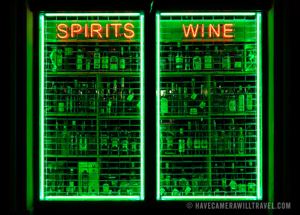 Neon sign and shop window for liquor store in Prague