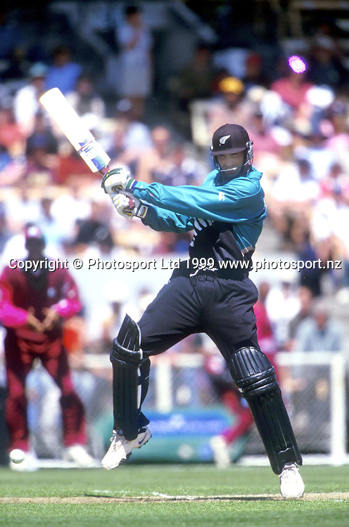 New Zealand captain Stephen Fleming plays a shot during the ODI cricket match between New Zealand and the West Indies, 1999. Photo: PHOTOSPORT