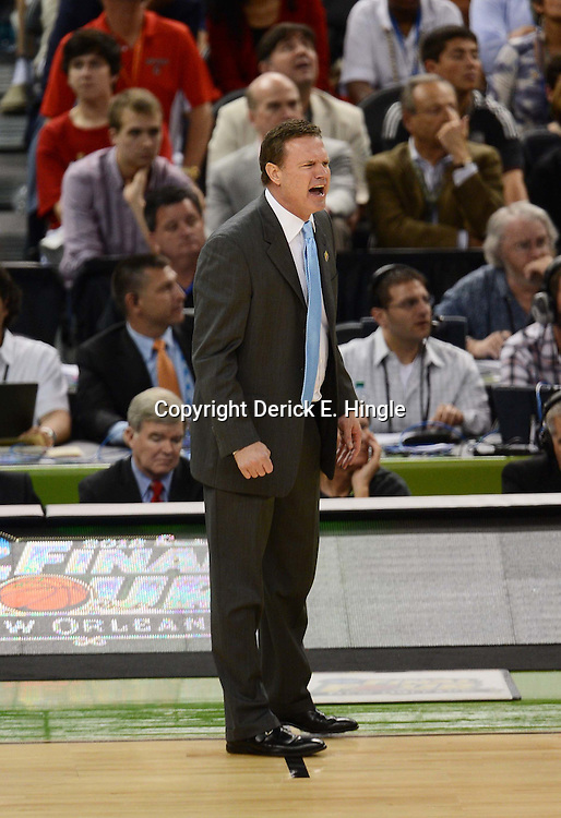 Mar 31, 2012; New Orleans, LA, USA; Kansas Jayhawks head coach Bill Self reacts against the Ohio State Buckeyes during the second half in the semifinals of the 2012 NCAA men's basketball Final Four at the Mercedes-Benz Superdome. Mandatory Credit: Derick E. Hingle-US PRESSWIRE