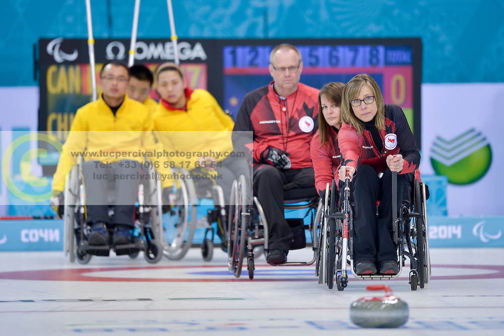 Sonja Gaudet, Ina Forrest, Dennis Thiessen, Wheelchair Curling Semi Finals at the 2014 Sochi Winter Paralympic Games, Russia