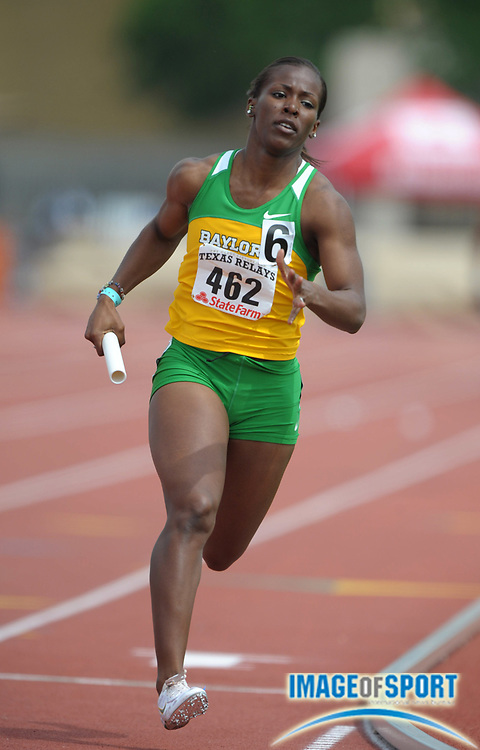 Mar 30, 2012; Austin, TX, USA; Idia Omogiate runs the third leg on the Baylor women's 4 x 400m relay that won its heat in 3:37.53 in the 85th Clyde Littlefield Texas Relays at Mike A. Myers Stadium.