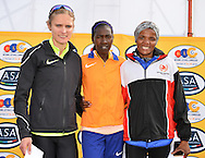 PORT ELIZABETH, SOUTH AFRICA - JULY 30: Irvette van Zyl, Sheila Chesang of Kenya and Lebogang Phalula during the SA Half Marathon Championships on July 30, 2016 in Port Elizabeth, South Africa. (Photo by Roger Sedres/Gallo Images)