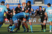 Saracens scrum-half Tom Whitely (9) tackled by Worcester Warriors replacement blindside flanker James Scott (19) during the Premiership Rugby Cup match between Saracens and Worcester Warriors at Allianz Park, Hendon, United Kingdom on 11 November 2018.