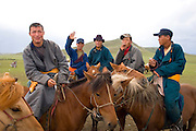 The traditional horse back races at Nadaam, Mongolia