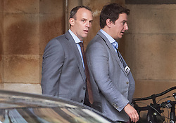 © Licensed to London News Pictures. 19/06/2019. London, UK. Former Conservative Party leadership candidate Dominic Raab (L) walks in Parliament. Boris Johnson has cemented his position as favourite to become the next Prime Minster after winning a clear majority in the second round of the conservative party's leadership race. Photo credit: Peter Macdiarmid/LNP