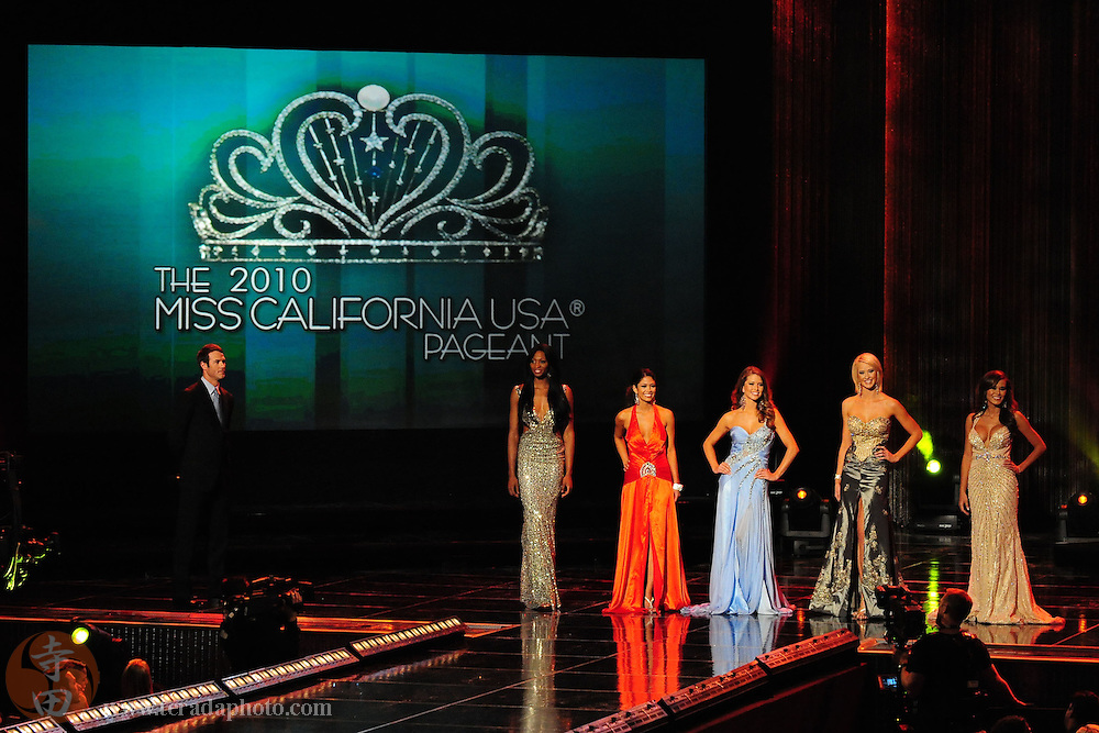 "November 22, 2009; Rancho Mirage, CA, USA; The Top Five finalists pose in their evening gowns during interview question final round of the Miss California USA 2010 Pageant at ""The Show"" at the Agua Caliente Resort & Spa. .Left to Right: Miss Beverly Hills USA Nana Meriwether, Miss Sherwood USA Nicole Johnson, Miss Citrus Valley USA Nia Sanchez, Miss Greater San Diego USA Jessica Morgan, and Miss Tarzana USA Brandi Lea Milloy..Mandatory Credit: Kyle Terada-Terada Photo"