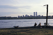 View of the former World Trade Center from across the East River NYC
