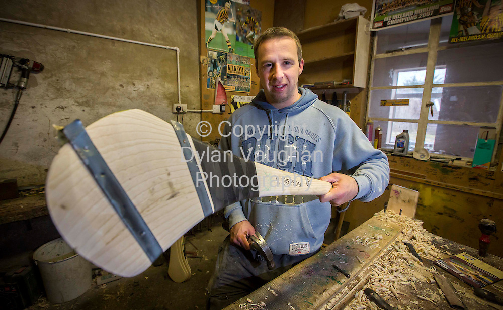 25/9/2012.Mark Dowling of Star Hurley in Kilkenny pictured working on Henry Shefflins Hurley..Picture Dylan Vaughan.