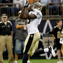 August 12, 2011; New Orleans, LA, USA;  New Orleans Saints wide receiver Devery Henderson (19) prior to kickoff of a preseason game against the San Francisco 49ersat the Louisiana Superdome. Mandatory Credit: Derick E. Hingle