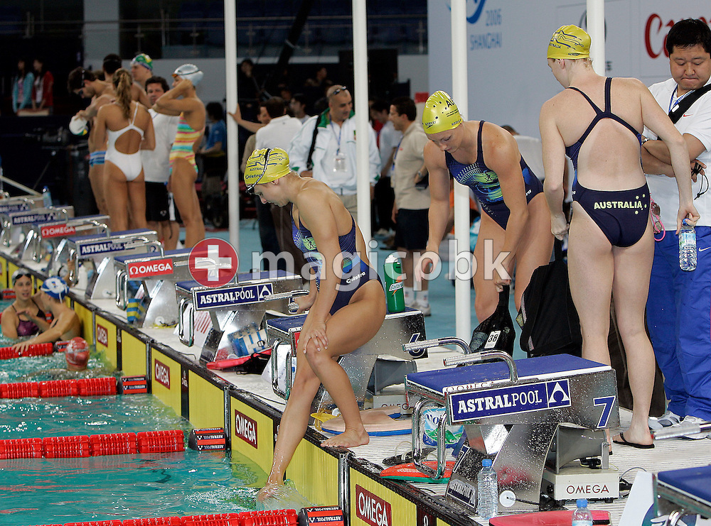 (C-R) Lisbeth LENTON, Shayne REESE and Danni MIATKE of Australia are pictured during warm-up two days before the start of the 8th FINA World Swimming Championships (25m) held at Qi Zhong Stadium April 3, 2006 in Shanghai, China. (Photo by Patrick B. Kraemer / MAGICPBK)