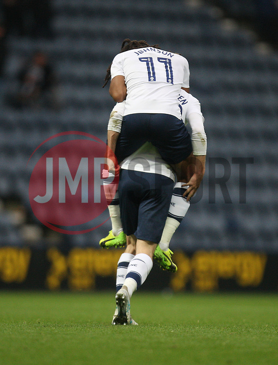 Tom Barkhuizen of Preston North End (Hidden) celebrates after scoring his sides second goal - Mandatory by-line: Jack Phillips/JMP - 28/10/2017 - FOOTBALL - Deepdale - Preston, England - Preston North End v Brentford - Football League Championship