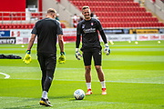 Laurence Bilboe of Rotherham United warming up before the EFL Sky Bet League 1 match between Rotherham United and Bolton Wanderers at the AESSEAL New York Stadium, Rotherham, England on 14 September 2019.