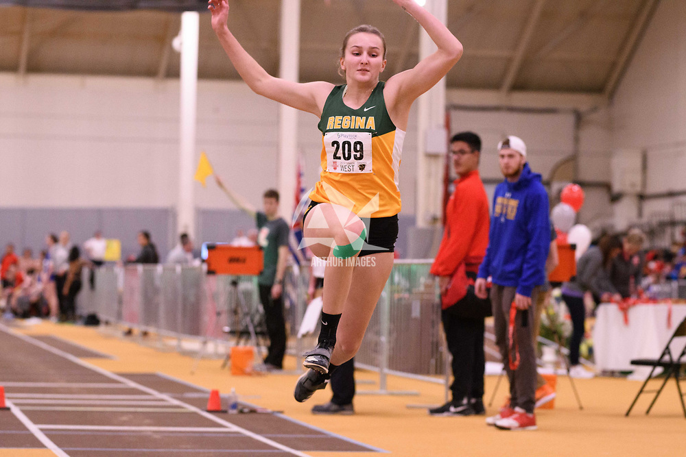 Paige Jeannot in action during the 2018 Canada West Track & Field Championship on February  24 at James Daly Fieldhouse. Credit: Arthur Ward/Arthur Images