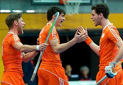 LEIZPIG - WC HOCKEY INDOOR 2015<br /> NED v POL (Pool B)<br /> Foto: Netherlands scored a goal<br /> FFU PRESS AGENCY COPYRIGHT FRANK UIJLENBROEK