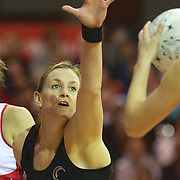 Leana de Bruin, New Zealand, in action during the New Zealand V England, New World International Netball Series, at the ILT Velodrome, Invercargill, New Zealand. 6th October 2011. Photo Tim Clayton...