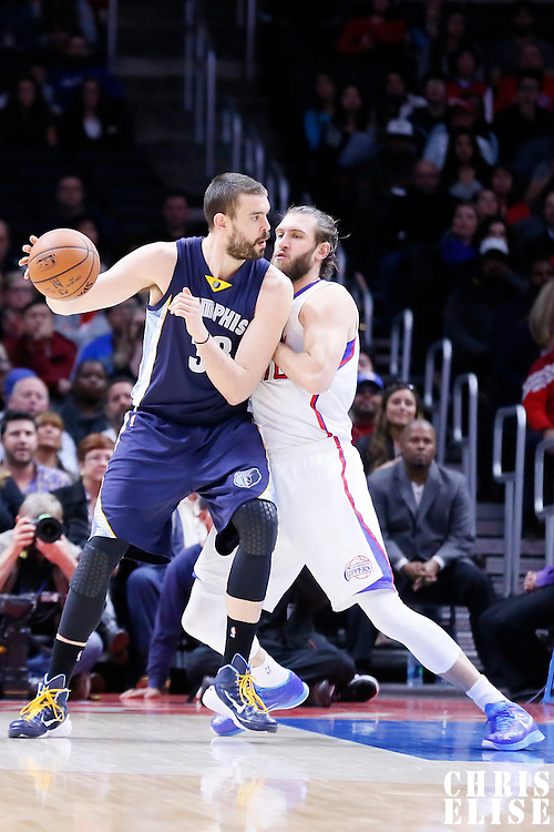 23 February 2015: Memphis Grizzlies center Marc Gasol (33) posts up Los Angeles Clippers forward Spencer Hawes (10) during the Memphis Grizzlies 90-87 victory over the Los Angeles Clippers, at the Staples Center, Los Angeles, California, USA.