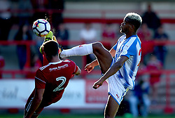 Steve Mounie of Huddersfield Town challenges Matty Pearson of Accrington Stanley - Mandatory by-line: Robbie Stephenson/JMP - 12/07/2017 - FOOTBALL - Wham Stadium - Accrington, England - Accrington Stanley v Huddersfield Town - Pre-season friendly