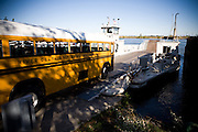 A school bus boards the CalTrans Ryer Island ferry, October 20, 2009.