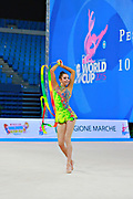 Kosoulieva Angela of Poland competes during the rhythmic gymnastics individual ribbon qualification of the World Cup at Adriatic Arena on April 11, 2015 in Pesaro, Italy.<br />