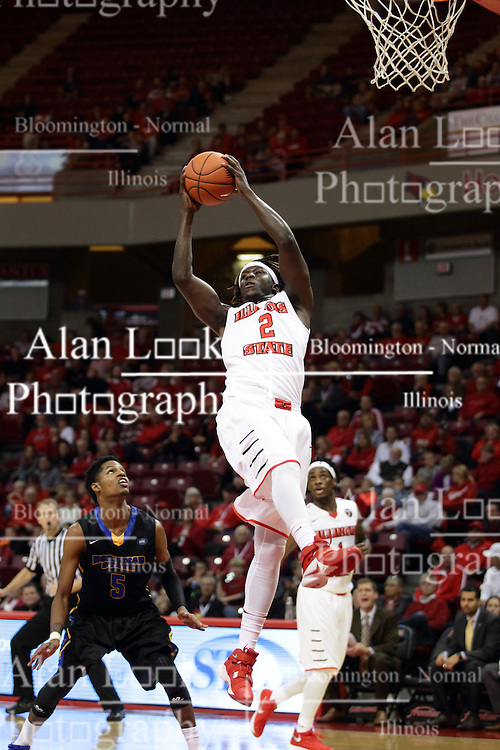 16 November 2015: Quintin Brewer (2) stretches and reels in a rebound. Illinois State Redbirds host the Morehead State Eagles at Redbird Arena in Normal Illinois (Photo by Alan Look)