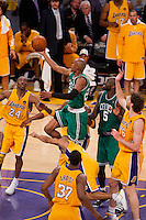 17 June 2010: Guard Ray Allen of the Boston Celtics lays the ball up against the Los Angeles Lakers during the second half of the Lakers 83-79 championship victory over the Celtics in Game 7 of the NBA Finals at the STAPLES Center in Los Angeles, CA.