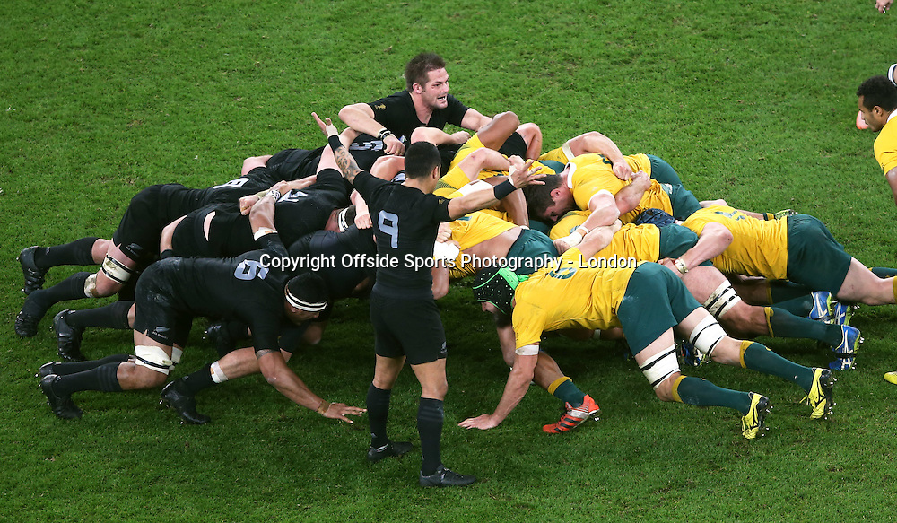 31 October 2015 Rugby World Cup Final : Australia v New Zealand; Richie McCaw pops his head out of the scrum.<br /> Photo: Mark Leech