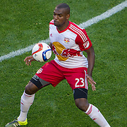 Nov 8, 2015; Harrison, NJ, USA;New York Red Bulls defender Ronald Zubar (23) traps the ball during the first half of the MLS Playoffs at Red Bull Arena. Mandatory Credit: William Hauser-USA TODAY Sports