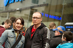 © under license to London News Pictures. 19/02/2011: UKUncut protesters Eve Steele and Ed Jones who occupied Barclays Bank on Market Street in Manchester City Centre, along with their two children. Their occupation and protest outside forced the closure of the branch. Protesters say that Barclays Bank pays large bonuses whilst legally avoiding a large percentage of tax. Eve Steele played Anne Malone in Coronation Street and has also appeared in Spooks, Peak Practice and Casualty.