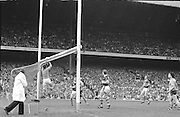 Kerry goalie jumps and saves the ball during the All Ireland Senior Gaelic Football Championship Final Kerry v Dublin at Croke Park on the 22nd September 1985. Kerry 2-12 Dublin 2-08.