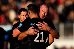 Schalk Burger of Saracens celebrates with Ben Earl of Saracens after victory over Sale Sharks - Mandatory by-line: Robbie Stephenson/JMP - 17/11/2018 - RUGBY - Allianz Park - London, England - Saracens v Sale Sharks - Gallagher Premiership Rugby