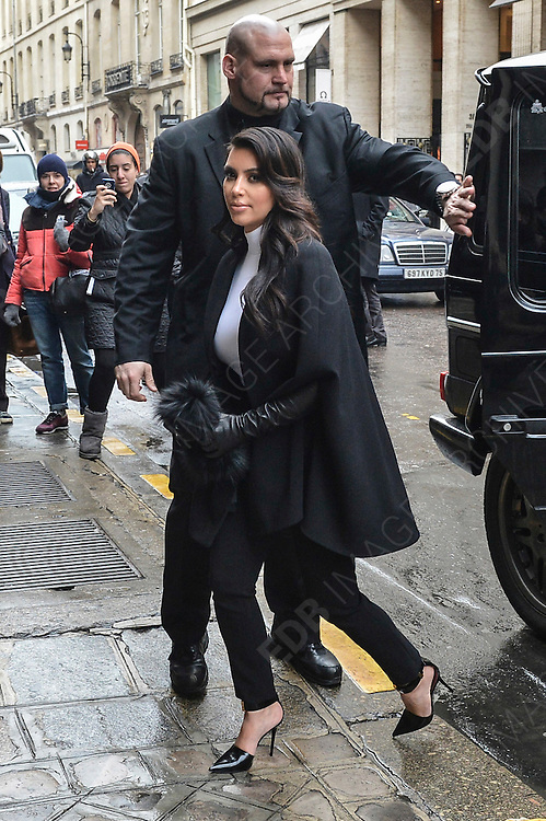 22.JANUARY.2013. PARIS<br /> <br /> KIM KARDASHIAN ARRIVES AT THE HOTEL COSTES IN PARIS<br /> <br /> BYLINE: EDBIMAGEARCHIVE.CO.UK<br /> <br /> *THIS IMAGE IS STRICTLY FOR UK NEWSPAPERS AND MAGAZINES ONLY*<br /> *FOR WORLD WIDE SALES AND WEB USE PLEASE CONTACT EDBIMAGEARCHIVE - 0208 954 5968*