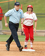 Wisconsin infielder/utility Kelsey Jenkins (3) stands on second base expressing her disbelief at being called out on a steal as Wisconsin faced Alabama during the NCAA Tuscaloosa Regional in Rhoads Stadium Saturday, May 19, 2018. [Staff Photo/Gary Cosby Jr.]